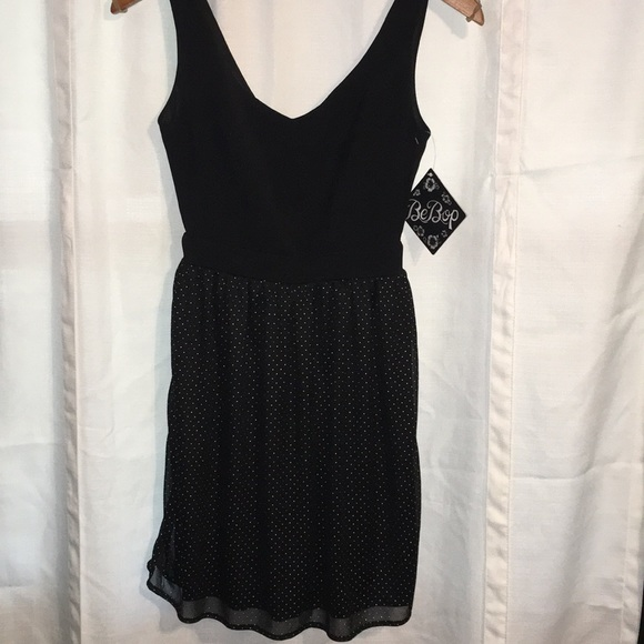 BeBop Dresses & Skirts - Be Bop mini dress black with silver dots size XSM